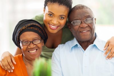 caregiver with senior couple